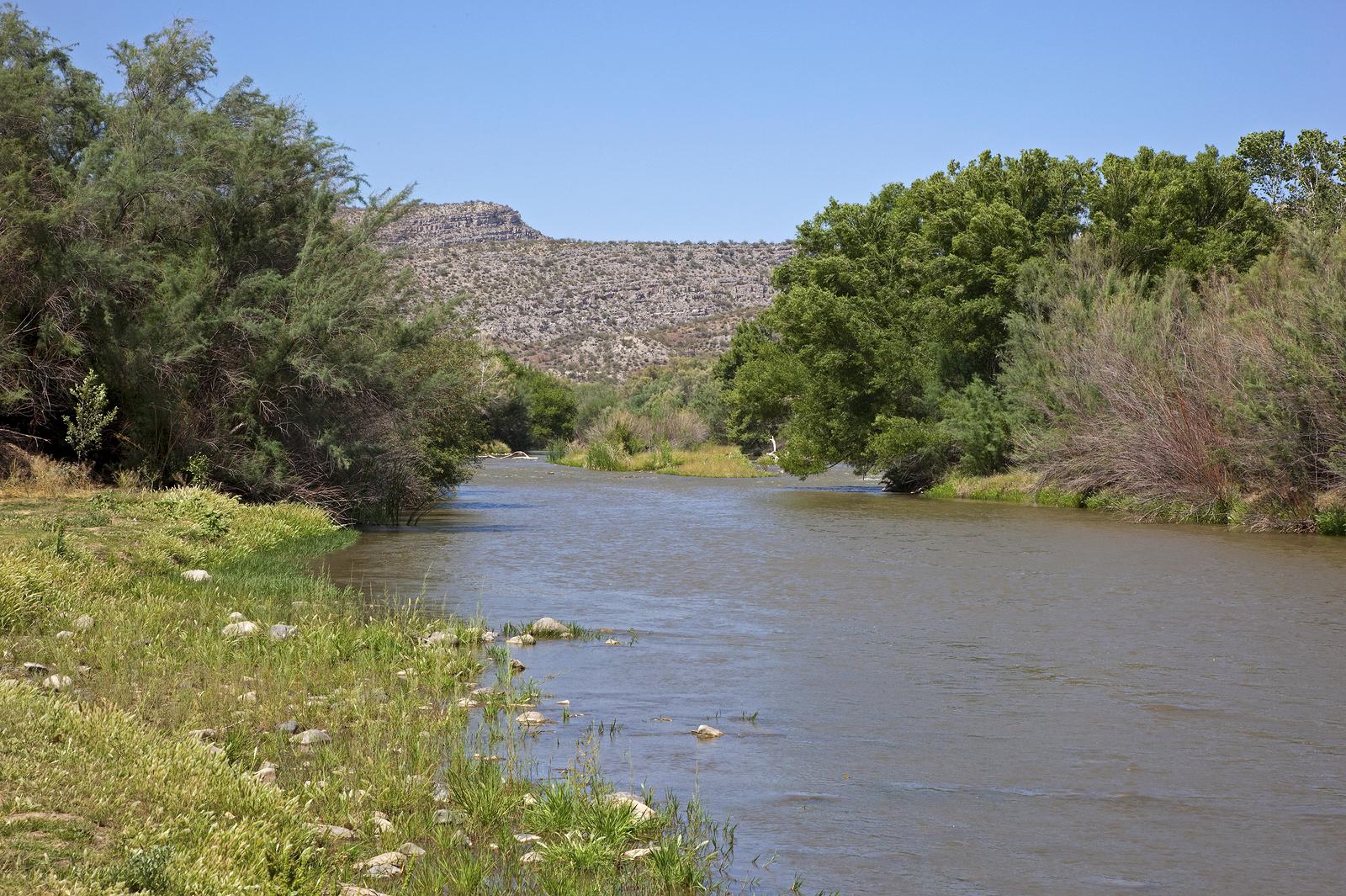 Gila River flowing at Winkelman Flats, Arizona
